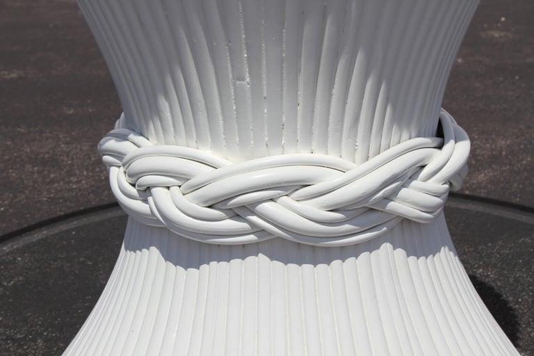Vintage McGuire Rattan Sheaf of Wheat Form Dining Table, Original White Lacquer In Good Condition For Sale In St. Louis, MO