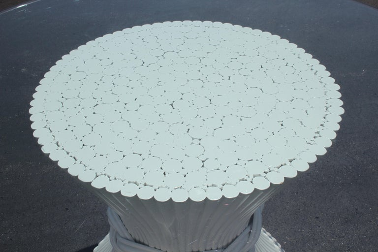 Mid-20th Century Vintage McGuire Rattan Sheaf of Wheat Form Dining Table, Original White Lacquer For Sale