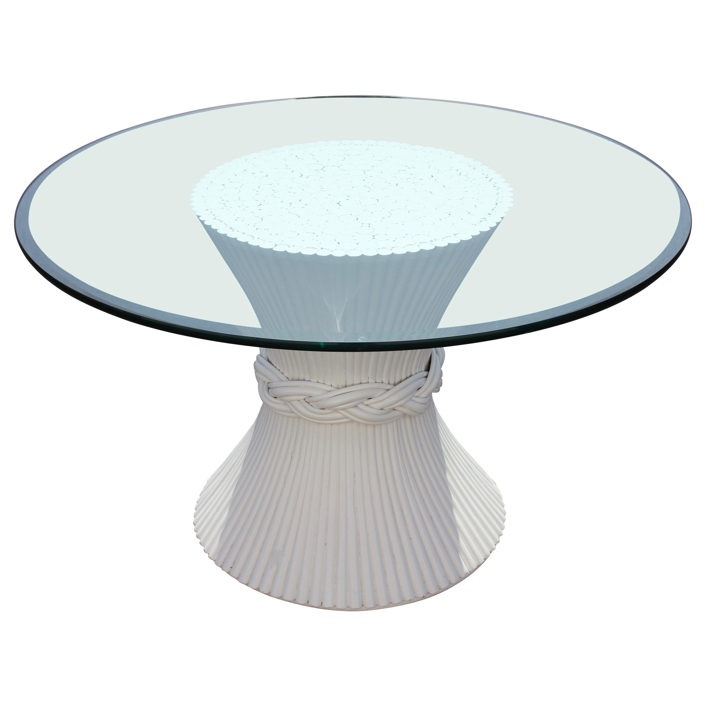 Vintage McGuire Rattan Sheaf of Wheat Form Dining Table, Original White Lacquer