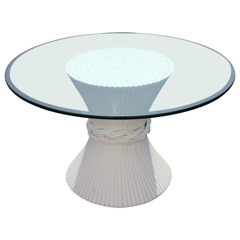 Vintage McGuire Rattan Sheaf of Wheat Form Dining Table, Original White Lacquer For Sale