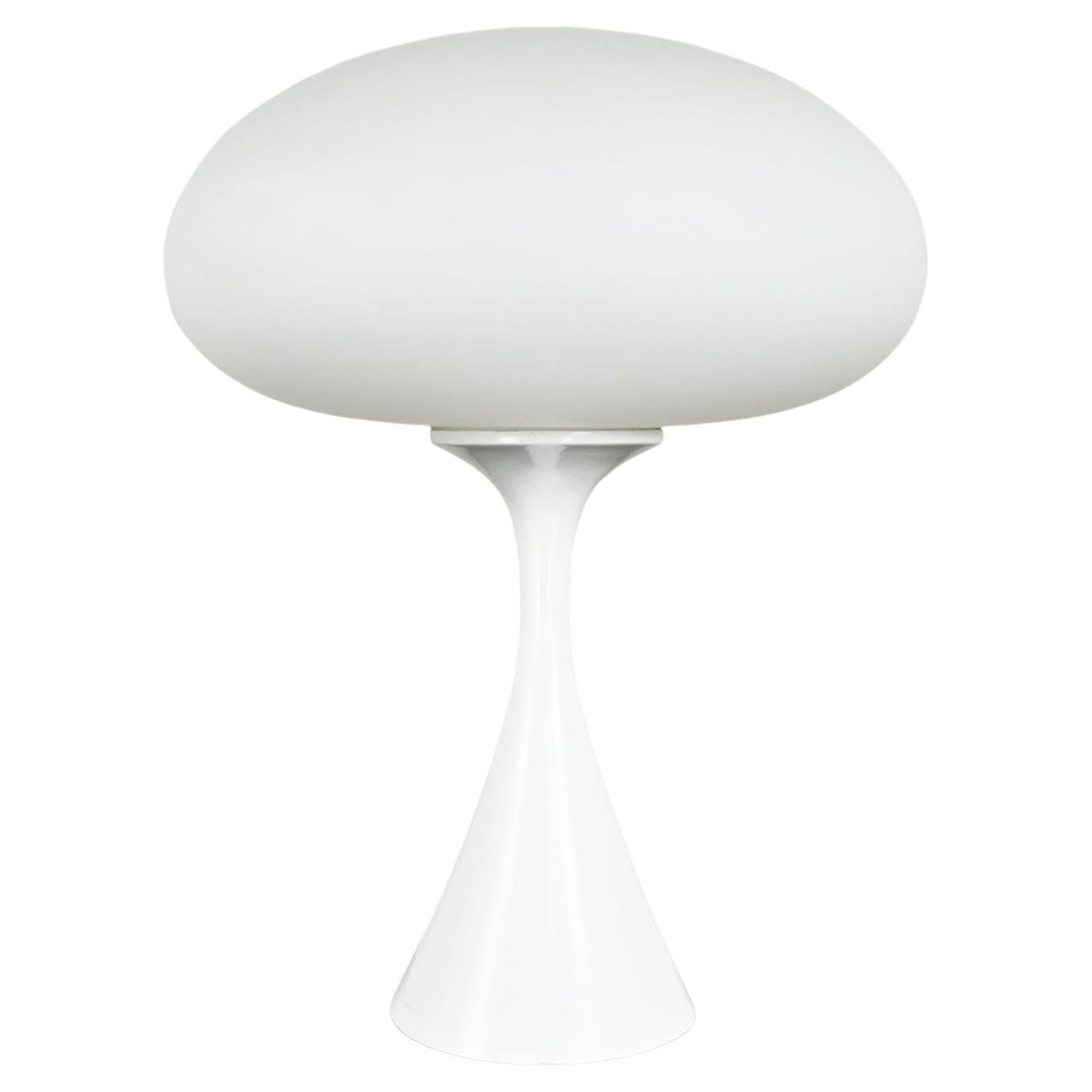Vintage MCM Table Lamp with Frosted White Glass Mushroom Shade by Laurel Lamp Co