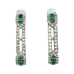 Vintage Mecan Art Deco Silver & Emerald Paste Hair Slides French 1930s