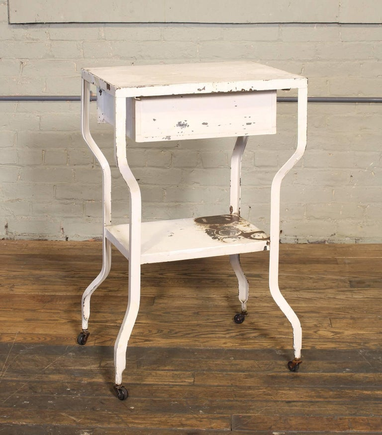 Vintage Medical Side Table or Rolling Bar Cart In Distressed Condition For Sale In Oakville, CT