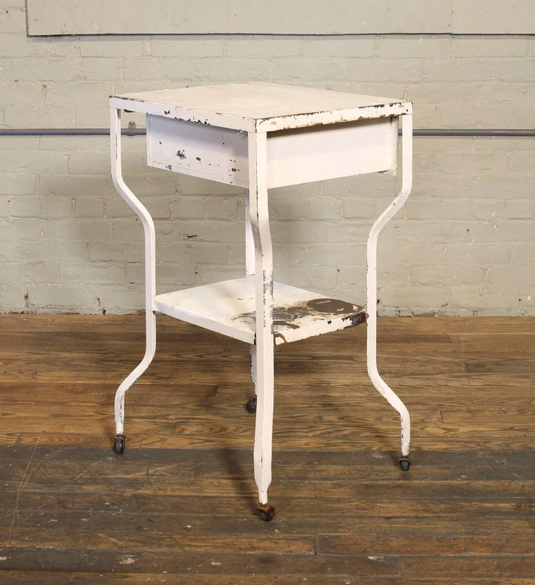 20th Century Vintage Medical Side Table or Rolling Bar Cart For Sale