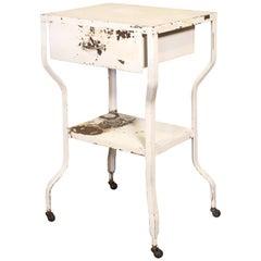 Vintage Medical Side Table or Rolling Bar Cart