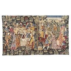 Vintage Medieval Design Aubusson Tapestry Halluin Tapestry