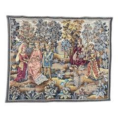 Vintage Medieval Design French Jaquar Tapestry