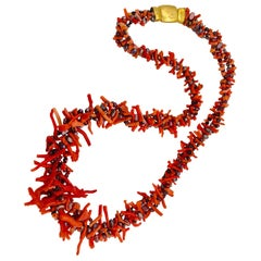 Vintage Mediterranean Branch Coral &Pearls up-cycled Necklace by Sylvia Gottwald