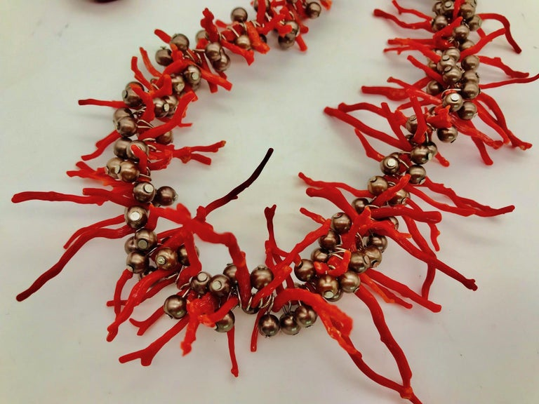 Bead  Sylvia Gottwald , Vintage Med. Red Branch Coral and Pearl Necklace and Earrings For Sale