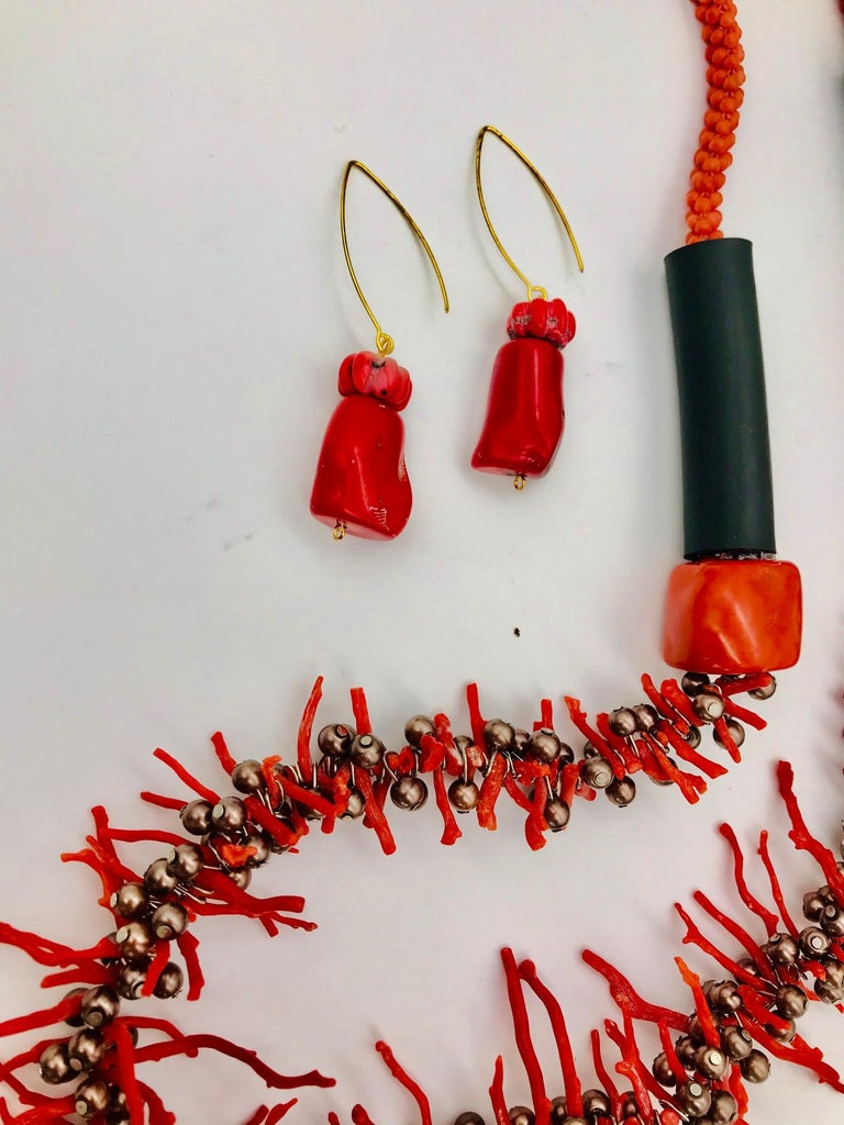 Women's or Men's  Sylvia Gottwald , Vintage Med. Red Branch Coral and Pearl Necklace and Earrings For Sale