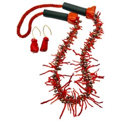 Sylvia Gottwald , Vintage Med. Red Branch Coral and Pearl Necklace and Earrings