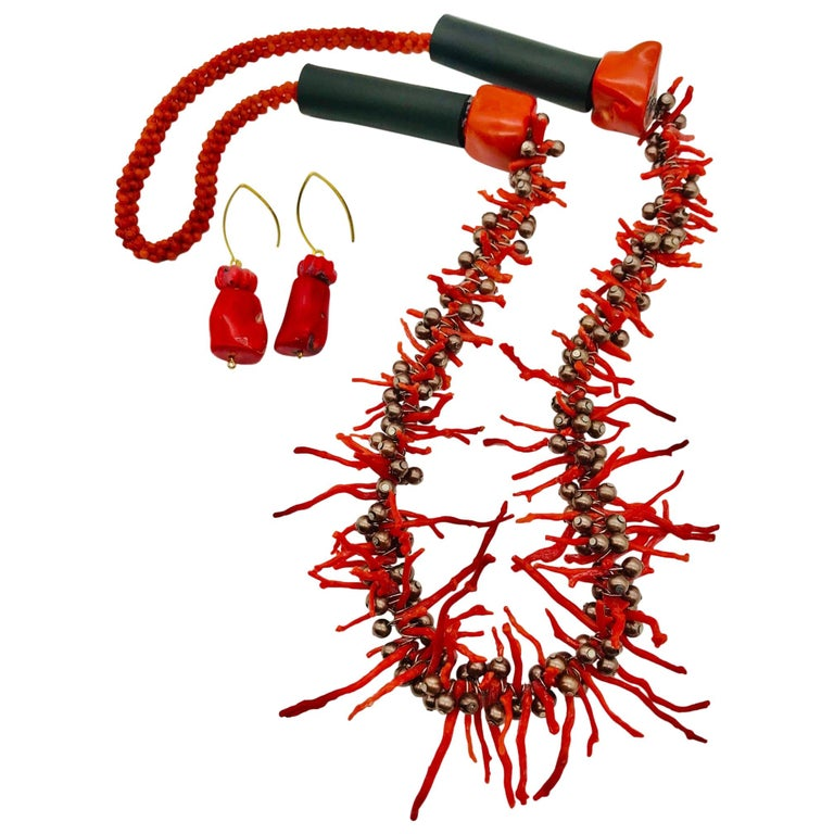 Sylvia Gottwald , Vintage Med. Red Branch Coral and Pearl Necklace and Earrings For Sale