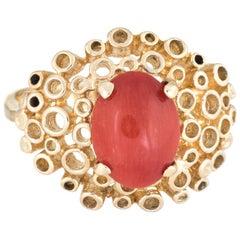 Vintage Mediterranean Red Coral Ring 14 Karat Gold Cocktail Estate Jewelry