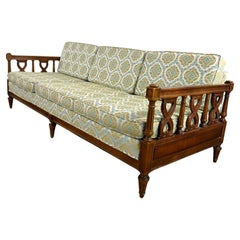 Vintage Mediterranean Spanish Revival Style Sofa Wood Details by American Furn