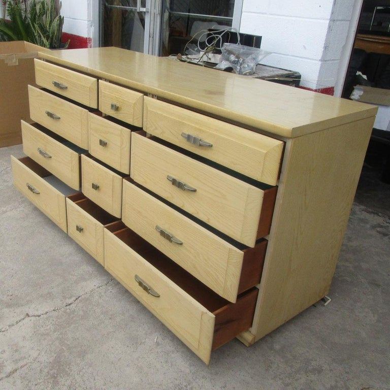 Mengel Furniture Vintage midcentury oak Mengel credenza Eight bigger drawers and 4 drawers in the middle.
