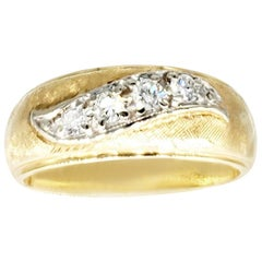 Vintage Men's 0.60 Carat Diamond Woven Design Wedding Band Ring