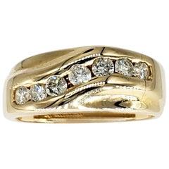 Vintage Men's 1.02 Carat Diamonds Wedding 14 Karat Gold Band