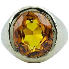 Vintage Men's 10 Karat Yellow Gold Oval Orange Citrine Solitaire Heavy Ring