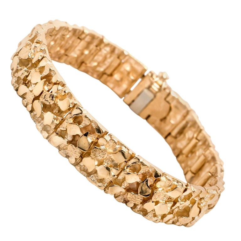 Vintage Men's 14 Karat Yellow Gold Nugget Bracelet For Sale