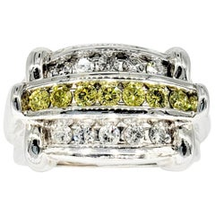 Vintage Men's 2.55 Carat Yellow and White Diamonds Ring
