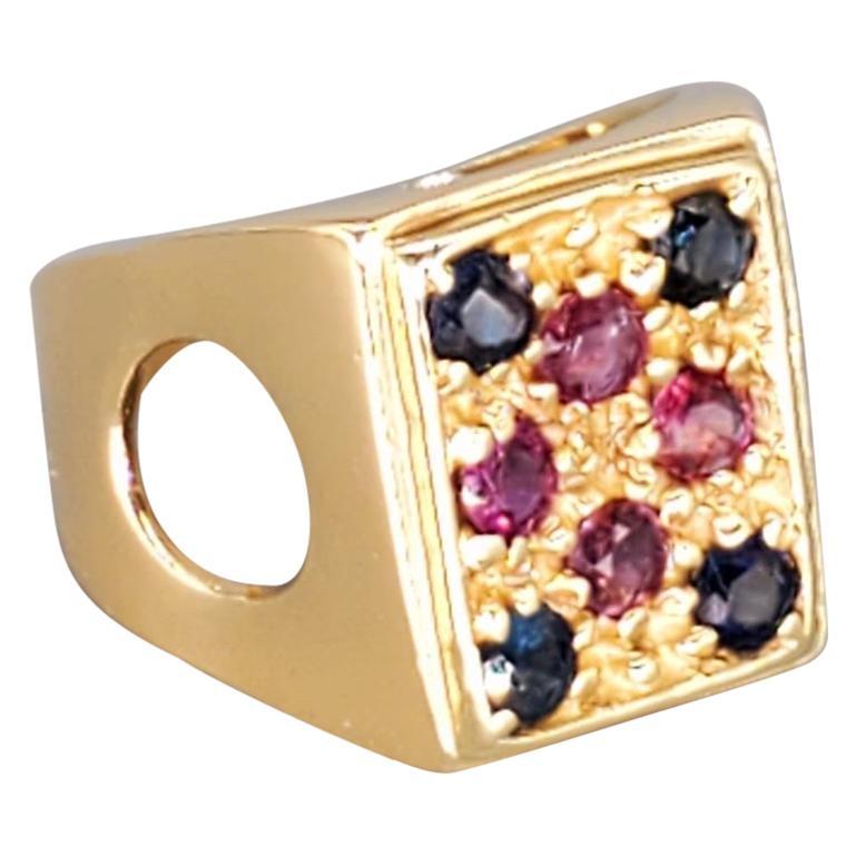 Vintage Men's 4 Carat Sapphire and Ruby Statement Ring 14 Karat