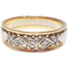 Vintage Men's Diamond Wedding Band / Ring 14 Karat Yellow and White Gold