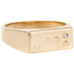 Vintage Mens English Assay Ring 9k Gold Signet Ingot Diamond 12 Estate Jewelry