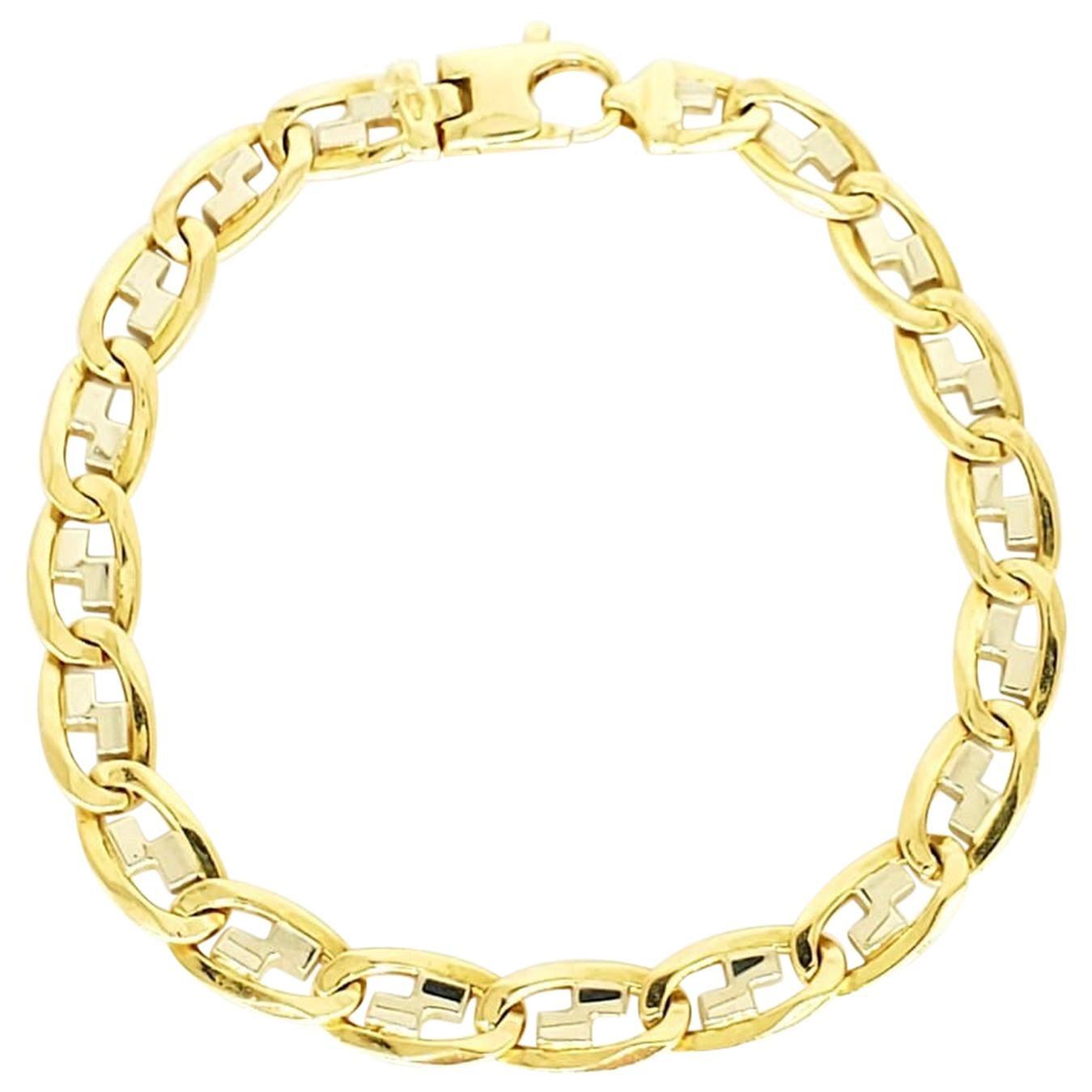 Vintage Men's Fancy Mariner Link Two-Tone 18 Karat Bracelet
