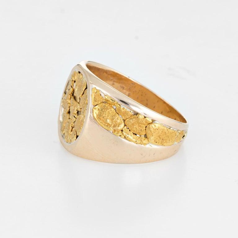 Modern Vintage Men's Gold Nugget Ring Round Signet 10 Karat Estate Fine Jewelry For Sale