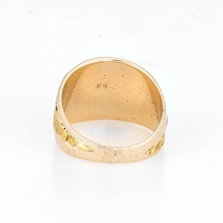 Women's or Men's Vintage Men's Gold Nugget Ring Round Signet 10 Karat Estate Fine Jewelry For Sale