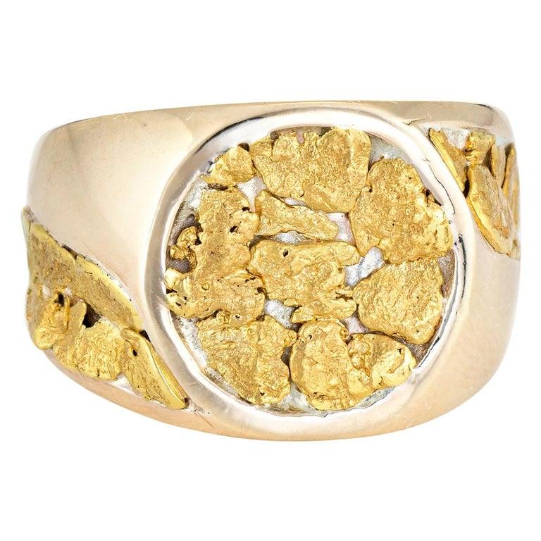 Vintage Men's Gold Nugget Ring Round Signet 10 Karat Estate Fine Jewelry For Sale