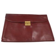 Vintage Men's Hermes Document Clutch in Burgundy Leather