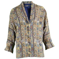 Vintage Men's Indian Hand Loomed Woven Tapestry Patterned Jacket, 1980s