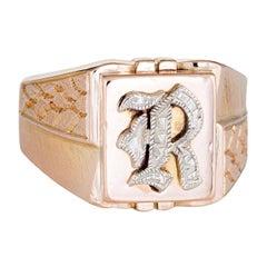Vintage Mens Letter R Signet Ring 10 Karat Rose Gold Estate Fine Jewelry