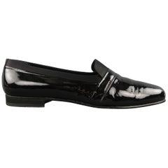 Vintage Men's MEZLAN Size 13 Black Patent Leather & Satin Tuxedo Loafers