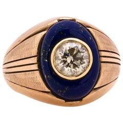 Vintage Men's Ring 9K Rose Gold Lapis & OEC Diamond 1.50ct L-I2 circa 1930s