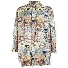 Vintage Mens Thai Silk All Over Buddhist Print Shirt