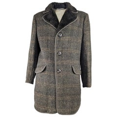 Vintage Mens Tweed & Faux Fur Coat, 1970s