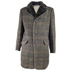 Vintage Mens Tweed & Faux Fur Coat, 1970s