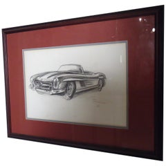 Vintage Mercedes Drawing Signed by Artist