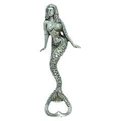 Vintage Mermaid Bottle Opener Mid-Century Modern Metal Breweriana Barware