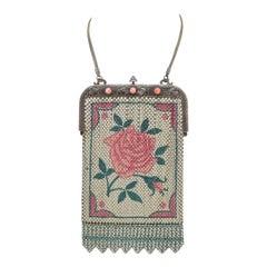 Vintage Mesh Purse with Rose Motif