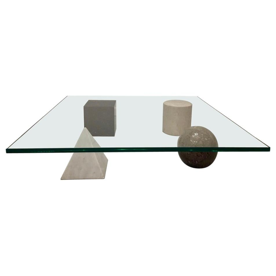 """Vintage """"Metafora"""" Glass and Marble Coffee Table by Massimo Vignelli, Italy 1979"""