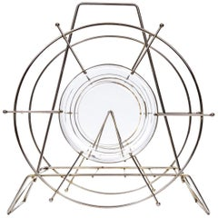 Vintage Metal and Glass Magazine Rack, circa 1960s