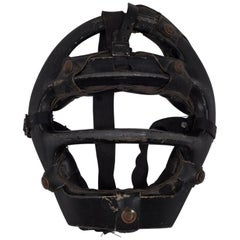 Vintage Metal and Leather Platform Catcher's Mask, circa 1960