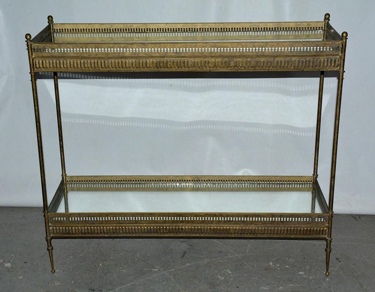 Regency Vintage Metal and Mirrored Console