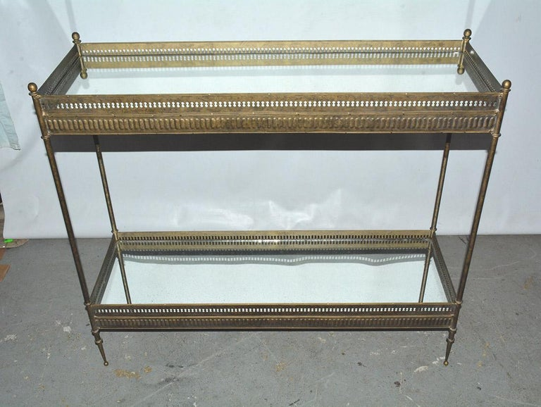 European Vintage Metal and Mirrored Console