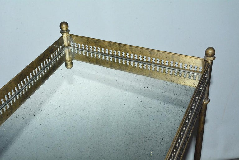 Vintage Metal and Mirrored Console In Good Condition In Great Barrington, MA