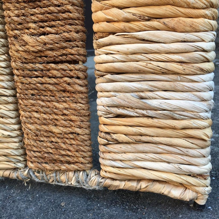 Vintage Metal and Wicker Folding Screen or Room Divider In Good Condition For Sale In Riga, Latvia