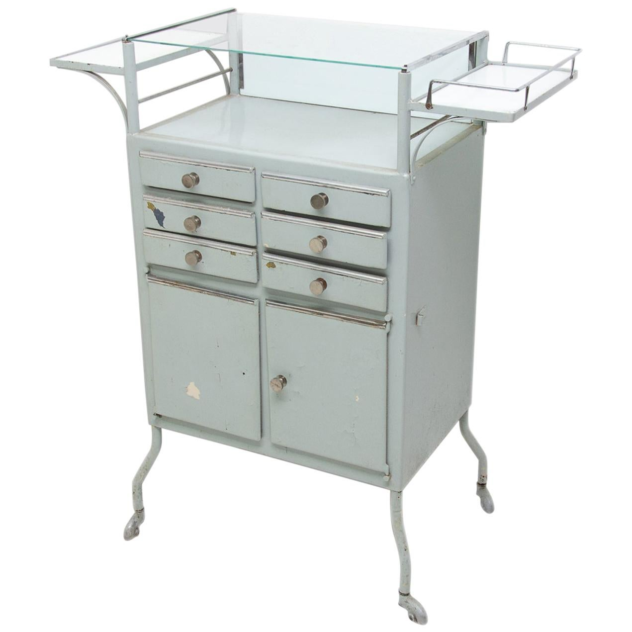 Vintage Metal Apothecary Cabinet on Wheels, 1960s